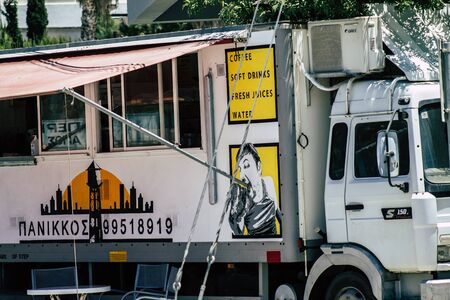 Limassol Cyprus May 26, 2020 View of a food truck parked in the streets of Limassol in Cyprus island