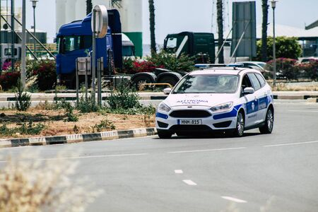 Limassol Cyprus May 26, 2020 View of a traditional Cypriot police car rolling in the streets of Limassol inCyprus island