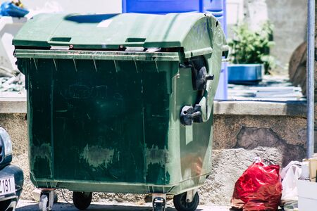 Limassol Cyprus May 26, 2020 Closeup of a garbage container in the streets of Limassol in Cyprus island