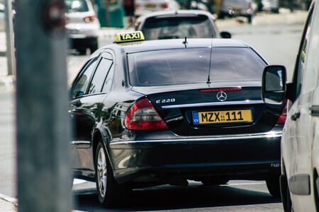 Limassol Cyprus May 26, 2020 View of a traditional Cypriot taxi rolling in the streets of Limassol in Cyprus island Standard-Bild
