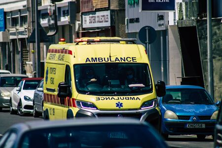 Limassol Cyprus May 26, 2020 View of a traditional Cypriot ambulance rolling in the streets of Limassol in Cyprus island Standard-Bild