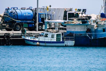Limassol Cyprus May 30, 2020 View of a boat moored in the old port of Limassol in Cyprus island