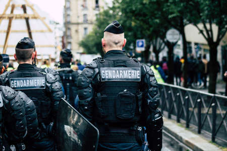 Paris France May 04, 2019 View of a riot squad of the French National Gendarmerie in intervention during protests of the Yellow Jackets against the policy of President Macron in Paris on saturday afternoon