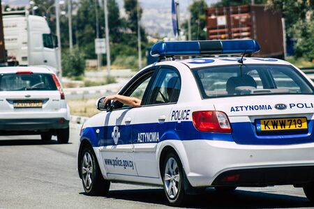 Limassol Cyprus June 03, 2020 View of a traditional Cypriot police car rolling in the streets of Limassol in Cyprus island