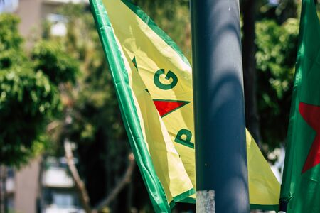 Limassol Cyprus June 20, 2020 View of the political meeting of the European Democratic Kurdish Society Congress which fights against the domination of Turkish power in the street of Limassol in the afternoon Stock Photo