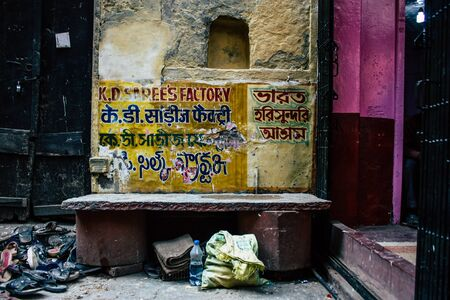 Varanasi India November 19, 2018 View of the narrow street in the old district of Varanasi in the afternoon