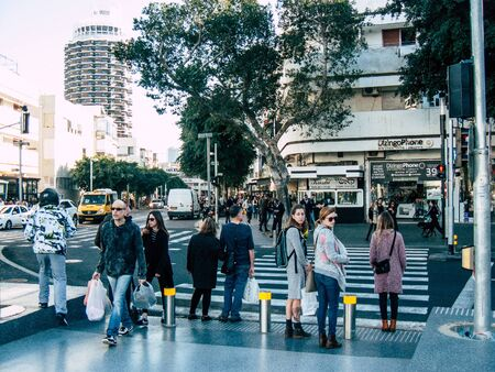 Tel Aviv Israel January 17, 2019 View of unknowns Israeli people walking in the streets of Tel Aviv in the afternoon