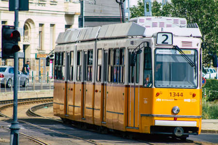Budapest Hungary july 16, 2020 View of an old Hungarian electric tram for passengers driving through the streets and part of the public transport system of Budapest, the capital of Hungary