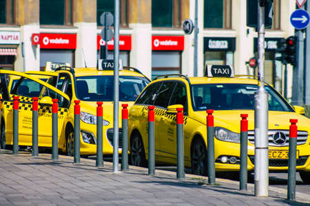 Budapest Hungary july 20, 2020 View of a traditional yellow Hungarian taxi for passengers driving through the streets of Budapest the capital and the most populous city of Hungary