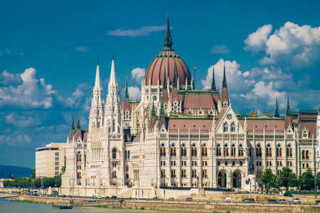 Budapest Hungary july 20, 2020 View of a historical building in the downtown area of Budapest, capital of Hungary and the most populous city of Hungary