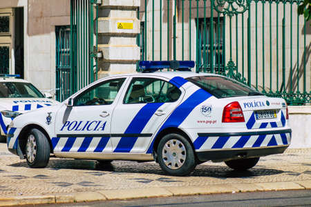 Lisbon Portugal july 24, 2020 View of a classic police car parked front the police station of Lisbon, the coastal capital city of Portugal and one of the stunning oldest cities in Europe