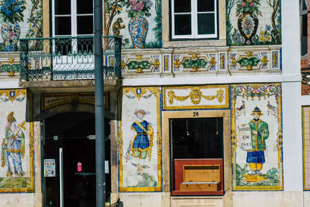 Lisbon Portugal july 25, 2020 View of classic facade of ancient historical buildings in the downtown area of Lisbon, the hilly coastal capital city of Portugal and one of the oldest cities in Europe