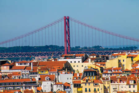 Lisbon Portugal july 25, 2020 Panoramic view of historical buildings in the downtown area of Lisbon, the hilly coastal capital city of Portugal and one of the oldest cities in Europe