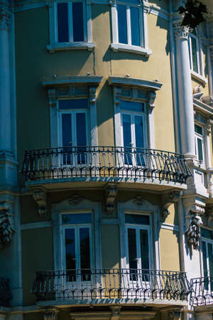 Lisbon Portugal july 26, 2020 View of classic facade of ancient historical buildings in the downtown area of Lisbon, the hilly coastal capital city of Portugal and one of the oldest cities in Europe