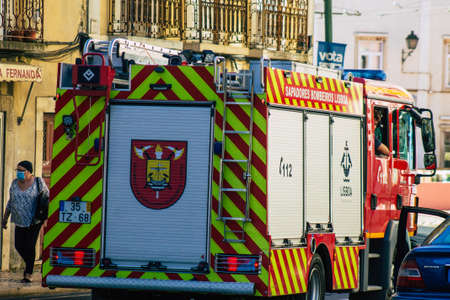 Lisbon Portugal july 26, 2020 View of a fire engine in the streets of Lisbon, the hilly coastal capital city of Portugal and one of the stunning oldest cities in Europe
