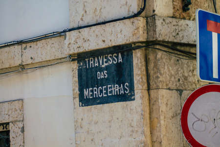 Lisbon Portugal july 26, 2020 View of a street or road name an identifying name given to a street, usually forms part of the address to further help identify them in the streets of Lisbon
