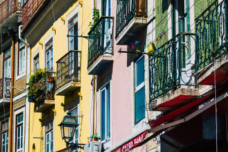 Lisbon Portugal july 29, 2020 View of classic facade of ancient historical buildings in the downtown area of Lisbon, the hilly coastal capital city of Portugal and one of the oldest cities in Europe