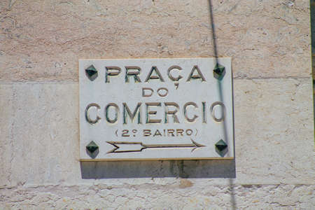 Lisbon Portugal july 29, 2020 View of a street or road name an identifying name given to a street, usually forms part of the address to further help identify them in the streets of Lisbon