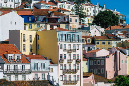 Lisbon Portugal August 03, 2020 View of classic facade of ancient historical buildings in the downtown area of Lisbon, the hilly coastal capital city of Portugal and one of the oldest cities in Europe Stockfoto