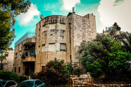 View of the facade of a building in the historic district of Jerusalem in Israel