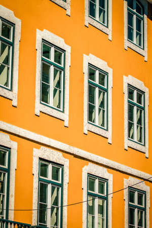View of the facade of a building in the downtown of Lisbon in Portugal