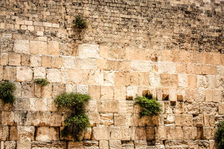 Close up of The Western Wall, Wailing Wall, often shortened to The Kotel is the most religious site in the world for the Jewish people, located in the Old City of Jerusalem Stock Photo