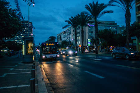 Tel Aviv Israel October 27, 2020 View of an Israeli public bus driving through the empty streets of Tel Aviv during the lockdown and Coronavirus outbreak to enforce containment of the population Editorial