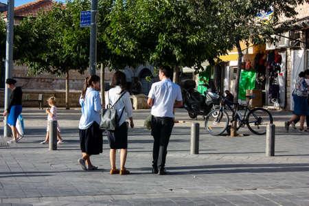 Jerusalem Israel, 2019 View of unidentified Israeli people walking in Jaffa street before the coronavirus outbreak hitting Israel