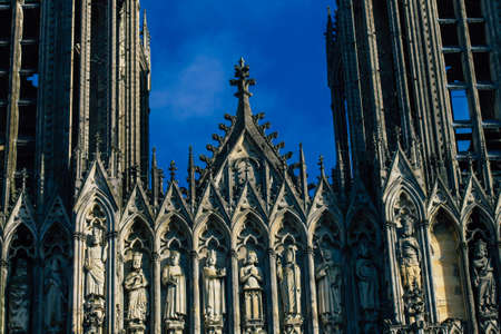 View of the exterior facade of the Notre Dame de Reims Cathedral, a historical monument in the Grand Est region of France Standard-Bild