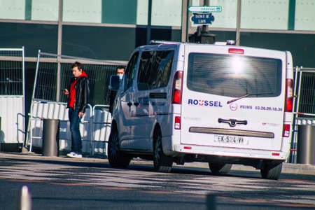 Reims France January 09, 2021 View of a traditional ambulance driving through the streets during the coronavirus pandemic affecting France