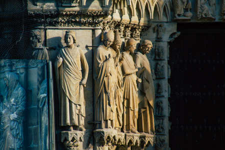 Reims France January 09, 2021 View of the exterior facade of the Notre Dame de Reims Cathedral, a historical monument in the Grand Est region of France