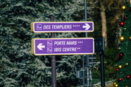 Reims France January 09, 2021 View of street sign or road sign, erected at the side of or above roads to provide information to road user in the downtown area of Reims