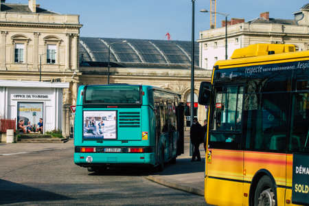 Reims France February 20, 2021 City bus for passengers driving through the streets during coronavirus outbreak hitting France and part of the public transport system of Reims