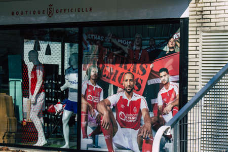Reims France February 10, 2021 Football Reims stadium located in the center of the town and closed by the government following the Coronavirus pandemic affecting France Editorial