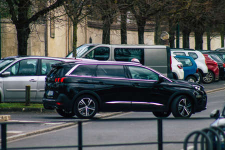 Reims France February 23, 2021 Taxi for passengers rolling in the streets of Reims during the coronavirus pandemic affecting France Editorial