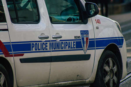 Reims France February 24, 2021 French police car in the streets of Reims during coronavirus pandemic and the lockdown to impose containment of the population