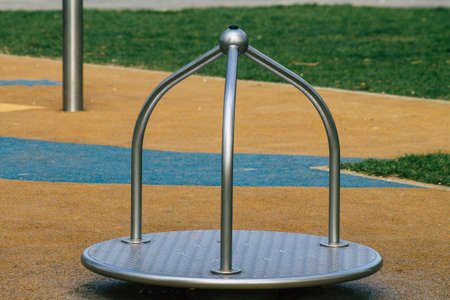 Reims France March 03, 2021 Playground in the public garden without any children due to the epidemic of Coronavirus hitting France