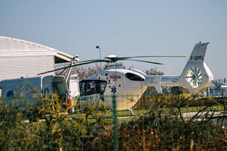Reims France March 03, 2021 Reims hospital medical helicopter refueling in the landing zone during the coronavirus epidemic hitting France Sajtókép