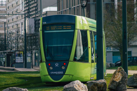 Reims France March 03, 2021 Modern electric tram for passengers rolling through the streets of Reims during the coronavirus outbreak hitting France Sajtókép