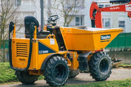 Reims France March 03, 2021 Gardening machine in a public garden in Reims, mainly used for gardening work