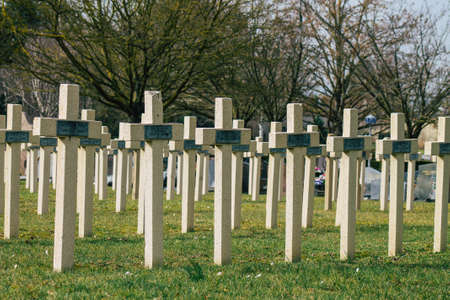 Reims France March 03, 2021 Graves of dead soldiers from the Great war buried in the military square of the cemetery of Reims in France