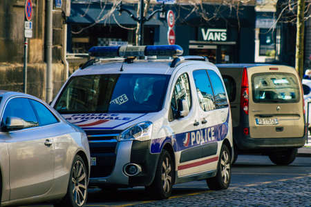 Reims France March 29, 2021 French police car in the streets of Reims during coronavirus pandemic and the lockdown to impose containment of the population