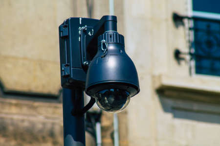 Reims France April 20, 2021 Security camera in the streets of the city center of the metropolitan area