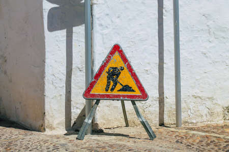 Carmona Spain July 15, 2021 Public works in the streets of Carmona to repair a cable pipe that has broken telephone and fiber optic installation