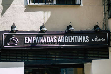 Seville Spain September 18, 2021 Commercial sign front a business located in Seville, an emblematic city and the capital of the region of Andalusia, in the south of Spain