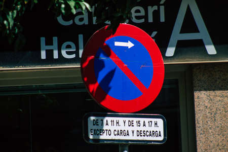 Seville Spain September 22, 2021 Street sign or road sign, erected at the side of or above roads to provide information to road user in the downtown area of Seville Editorial