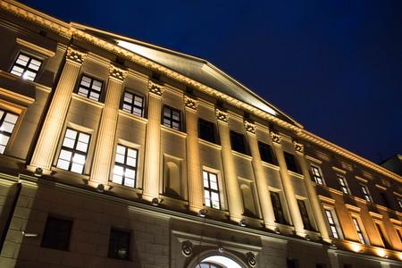 a beautiful night lit building in Poznan, Poland