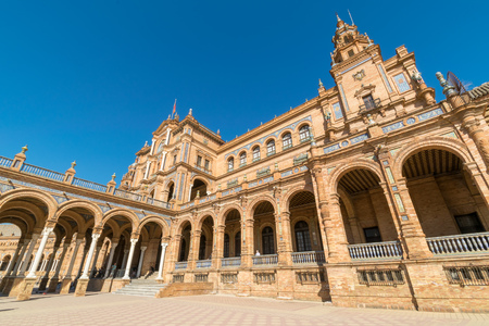 a close up of the main building at Plaza De Espana in Seville, Spain Editorial