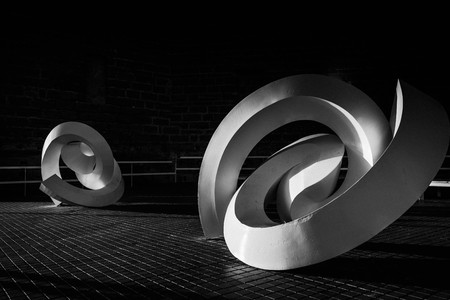beautiful artistic sculptures found in Cadiz, Spain with a black a white finish
