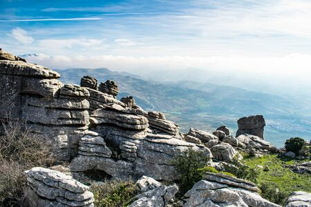 amazing view over the valleys at Torcal overlooking Sierra Nevada